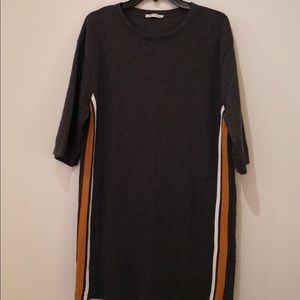 Zara Dresses - Grey trapeze shift dress with mustard faux leather